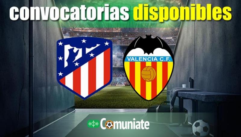 Convocatorias del partido Atlético y Valencia. Jornada 20.