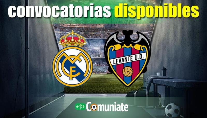 Convocatorias del partido Real Madrid y Levante. Jornada 21.