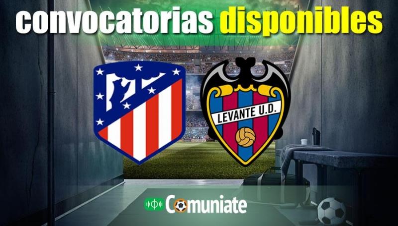 Convocatorias del partido Atlético y Levante. Jornada 24.