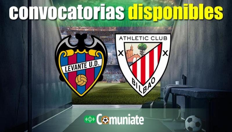 Convocatorias del partido Levante y Athletic. Jornada 25.