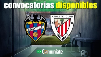 Convocatorias del partido Levante y Athletic. Jornada 25.