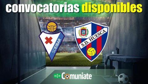Convocatorias del partido Eibar y Huesca. Jornada 25.