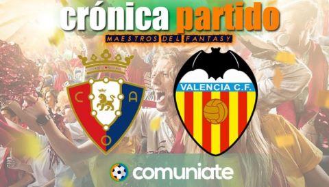 Crónica del partido disputado entre Osasuna y Valencia. Jornada 31.