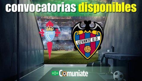 Convocatorias del partido Celta y Levante. Jornada 34.
