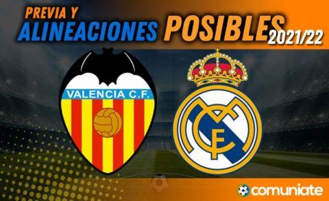 Alineaciones posibles y previa de la Jornada entre Valencia y Real Madrid. Jornada 5.