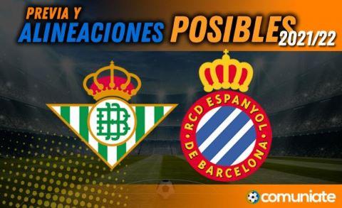 Alineaciones posibles y previa de la Jornada entre Betis y Espanyol. Jornada 5.