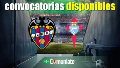 Convocatorias del partido Levante y Celta. Jornada 6.