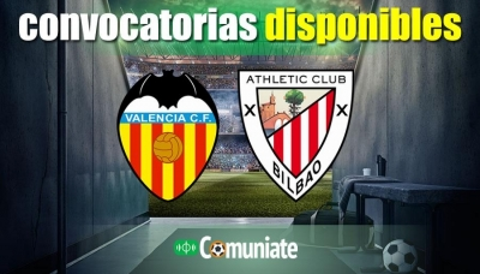Convocatorias del partido Valencia y Athletic. Jornada 7.